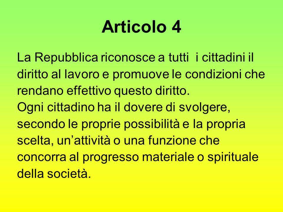 Articolo 4 La Repubblica riconosce a tutti i cittadini il