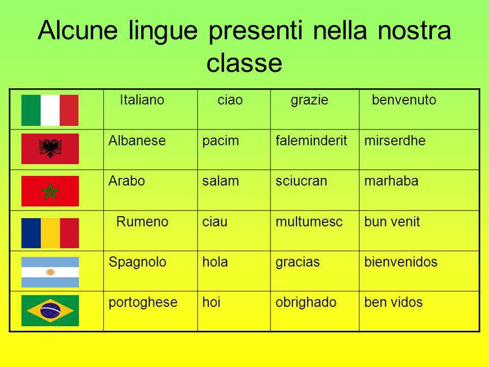 Alcune lingue presenti nella nostra classe