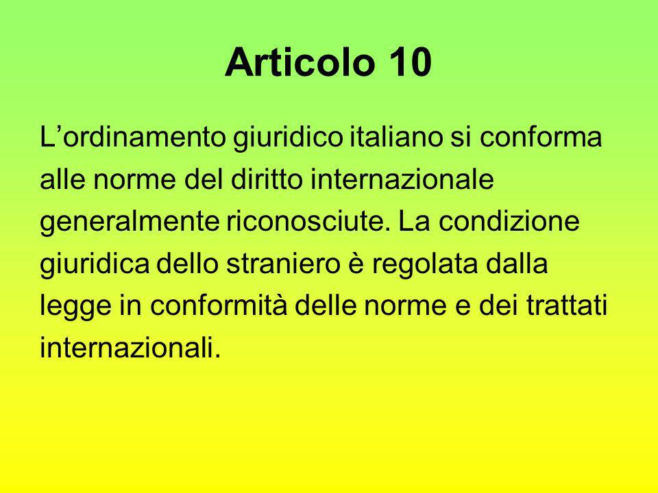 Articolo 10 L'ordinamento giuridico italiano si conforma