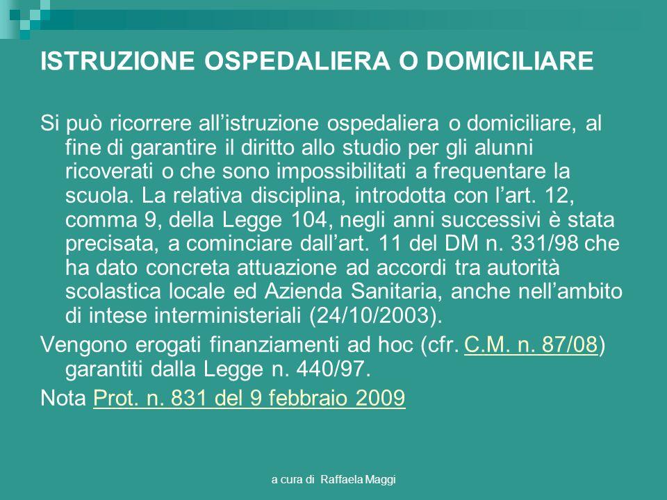 ISTRUZIONE OSPEDALIERA O DOMICILIARE