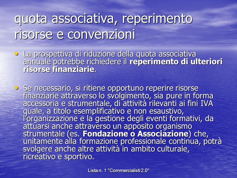 quota associativa, reperimento risorse e convenzioni