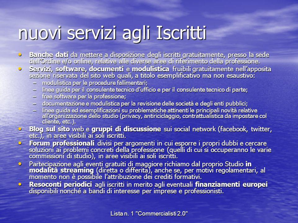 nuovi servizi agli Iscritti