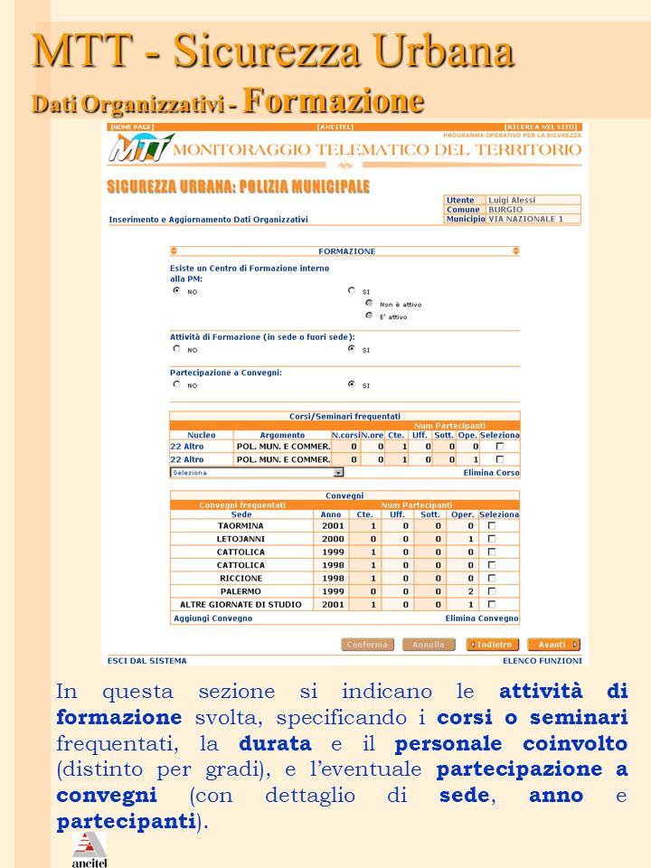 MTT - Sicurezza Urbana Dati Organizzativi - Formazione