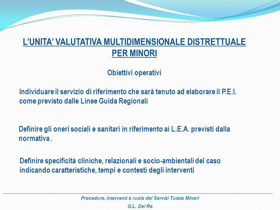 L'UNITA' VALUTATIVA MULTIDIMENSIONALE DISTRETTUALE
