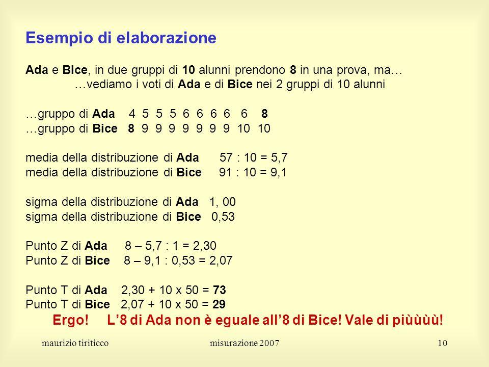 Esempio di elaborazione Ada e Bice, in due gruppi di 10 alunni prendono 8 in una prova, ma… …vediamo i voti di Ada e di Bice nei 2 gruppi di 10 alunni …gruppo di Ada 4 5 5 5 6 6 6 6 6 8 …gruppo di Bice 8 9 9 9 9 9 9 9 10 10 media della distribuzione di Ada 57 : 10 = 5,7 media della distribuzione di Bice 91 : 10 = 9,1 sigma della distribuzione di Ada 1, 00 sigma della distribuzione di Bice 0,53 Punto Z di Ada 8 – 5,7 : 1 = 2,30 Punto Z di Bice 8 – 9,1 : 0,53 = 2,07 Punto T di Ada 2,30 + 10 x 50 = 73 Punto T di Bice 2,07 + 10 x 50 = 29 Ergo! L'8 di Ada non è eguale all'8 di Bice! Vale di piùùùù!