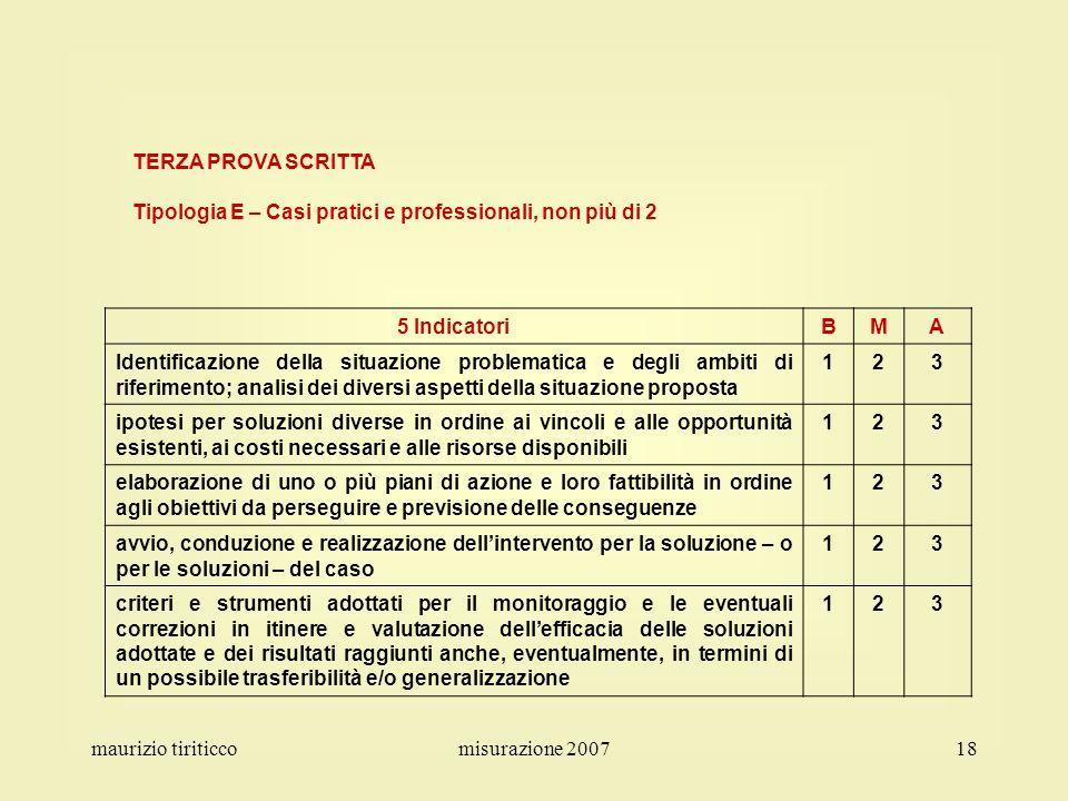TERZA PROVA SCRITTA Tipologia E – Casi pratici e professionali, non più di 2. 5 Indicatori. B. M.