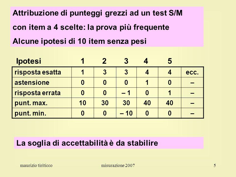 Attribuzione di punteggi grezzi ad un test S/M