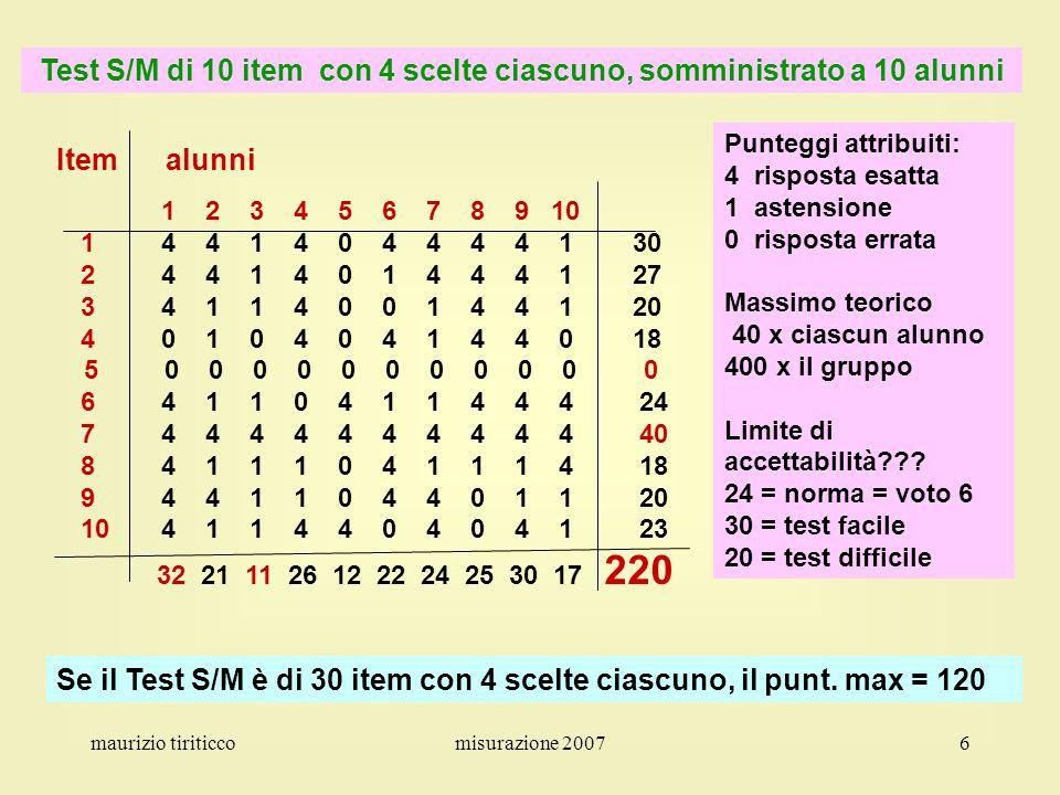 Test S/M di 10 item con 4 scelte ciascuno, somministrato a 10 alunni