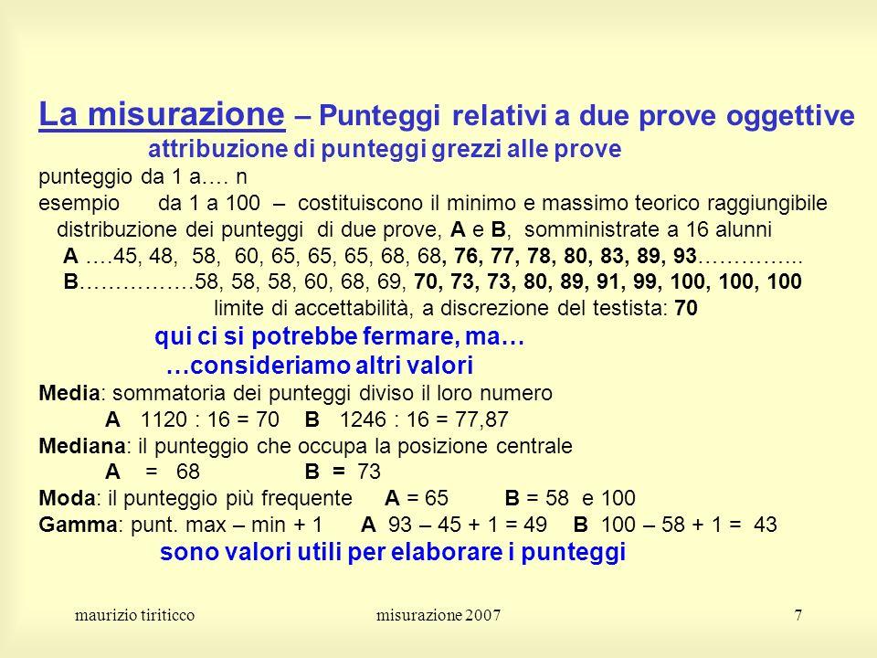 La misurazione – Punteggi relativi a due prove oggettive attribuzione di punteggi grezzi alle prove punteggio da 1 a…. n esempio da 1 a 100 – costituiscono il minimo e massimo teorico raggiungibile distribuzione dei punteggi di due prove, A e B, somministrate a 16 alunni A ….45, 48, 58, 60, 65, 65, 65, 68, 68, 76, 77, 78, 80, 83, 89, 93…………... B…………….58, 58, 58, 60, 68, 69, 70, 73, 73, 80, 89, 91, 99, 100, 100, 100 limite di accettabilità, a discrezione del testista: 70 qui ci si potrebbe fermare, ma… …consideriamo altri valori Media: sommatoria dei punteggi diviso il loro numero A 1120 : 16 = 70 B 1246 : 16 = 77,87 Mediana: il punteggio che occupa la posizione centrale A = 68 B = 73 Moda: il punteggio più frequente A = 65 B = 58 e 100 Gamma: punt. max – min + 1 A 93 – 45 + 1 = 49 B 100 – 58 + 1 = 43 sono valori utili per elaborare i punteggi