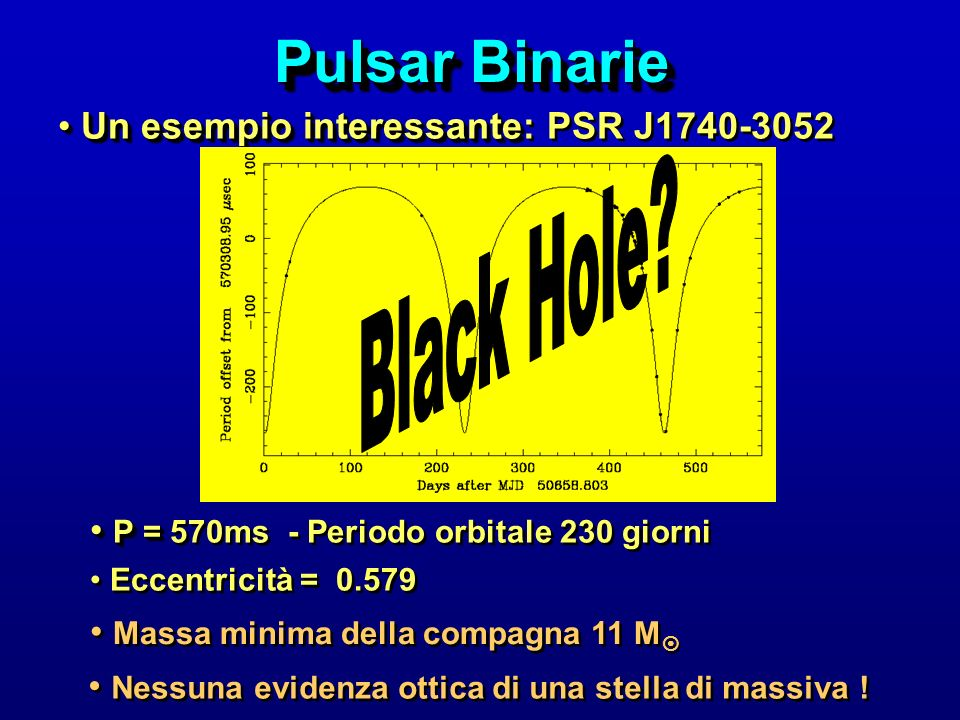Pulsar Binarie Black Hole Un esempio interessante: PSR J1740-3052
