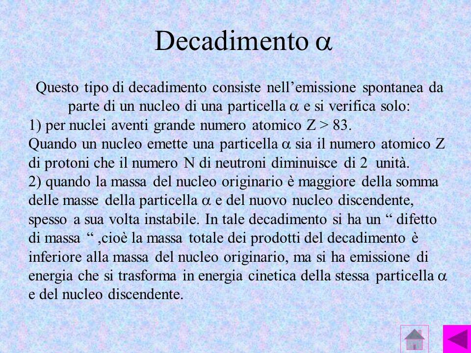 Decadimento a Questo tipo di decadimento consiste nell'emissione spontanea da parte di un nucleo di una particella a e si verifica solo: