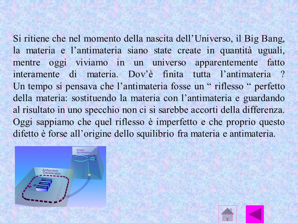 Si ritiene che nel momento della nascita dell'Universo, il Big Bang, la materia e l'antimateria siano state create in quantità uguali, mentre oggi viviamo in un universo apparentemente fatto interamente di materia.