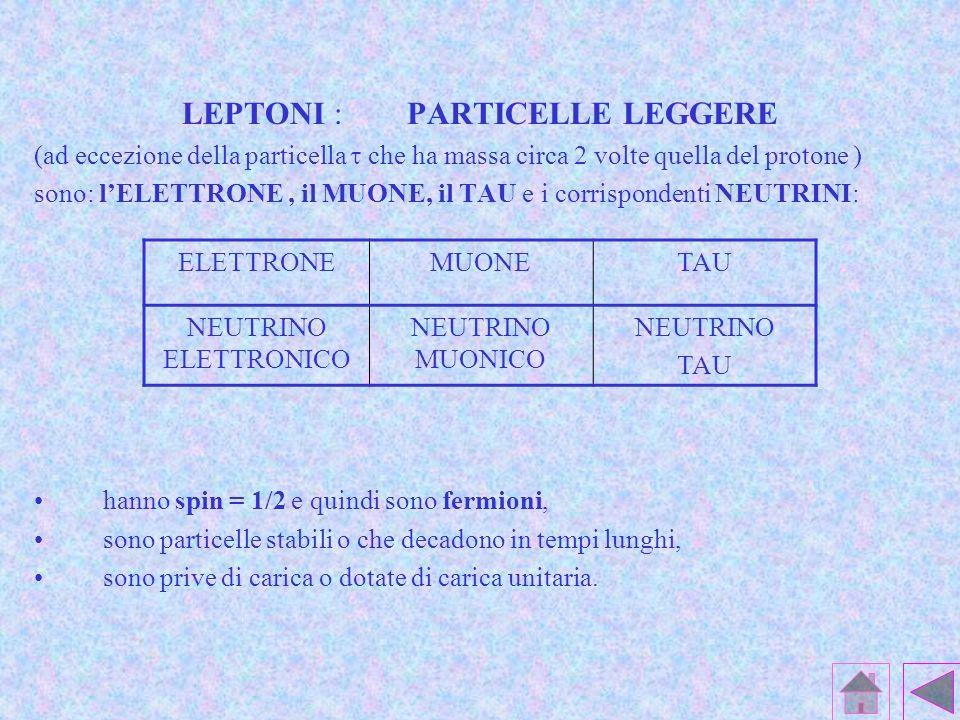 LEPTONI : PARTICELLE LEGGERE