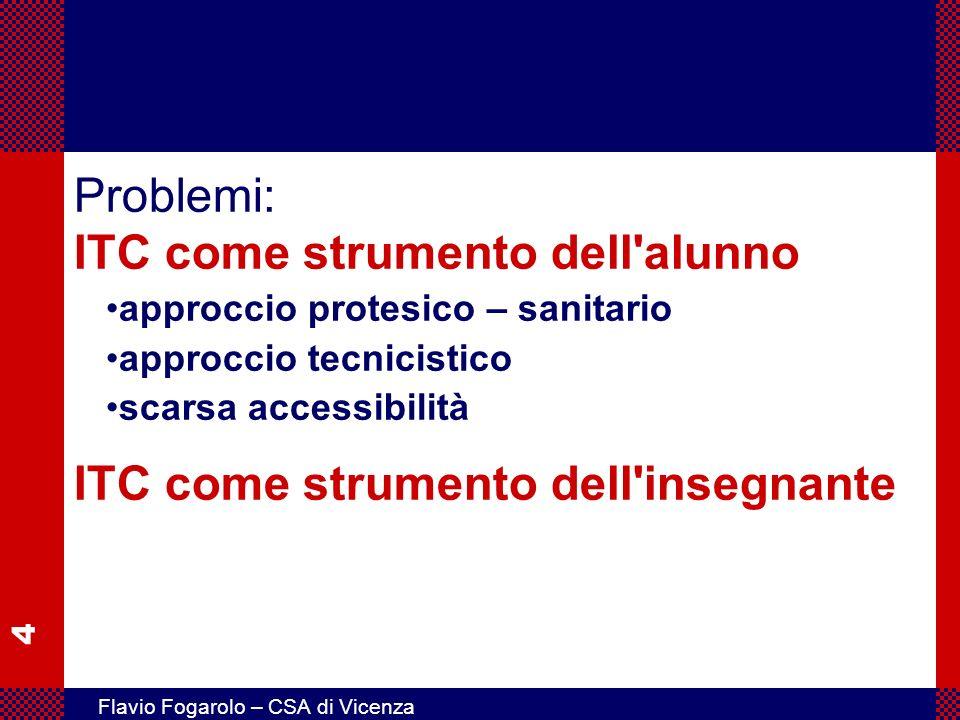 Problemi: ITC come strumento dell alunno ITC come strumento dell insegnante