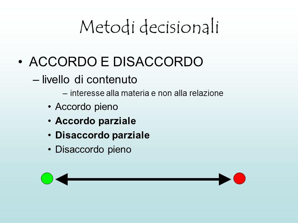 Metodi decisionali ACCORDO E DISACCORDO livello di contenuto