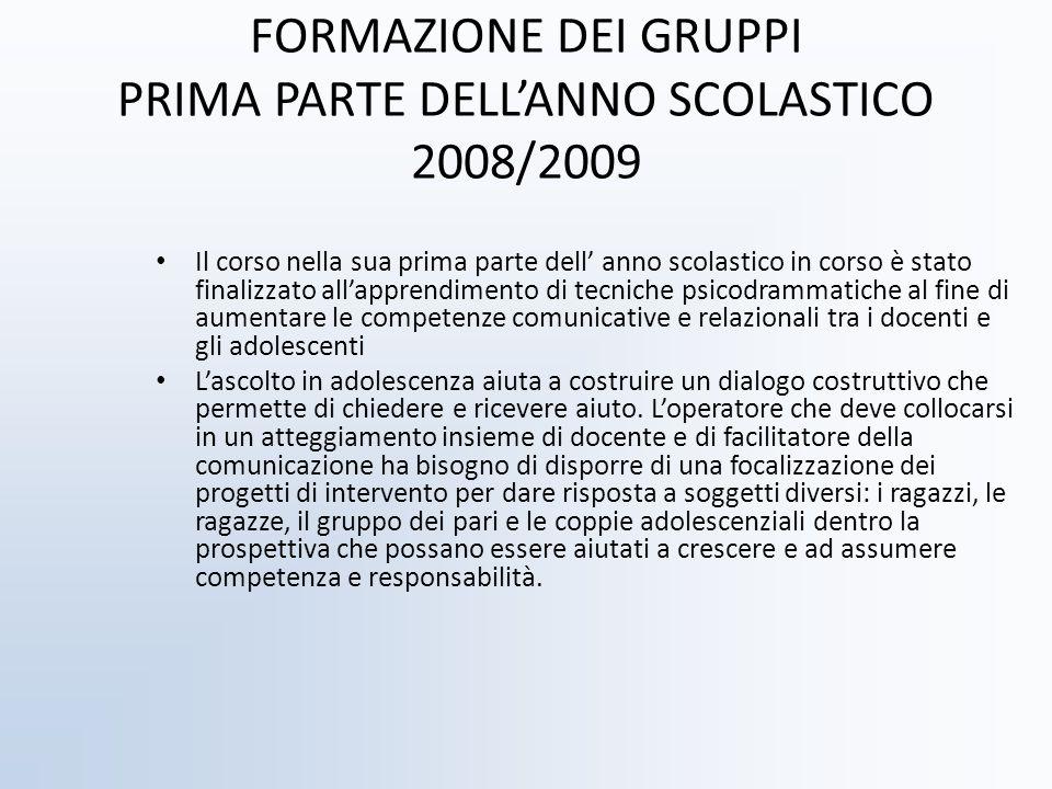 FORMAZIONE DEI GRUPPI PRIMA PARTE DELL'ANNO SCOLASTICO 2008/2009
