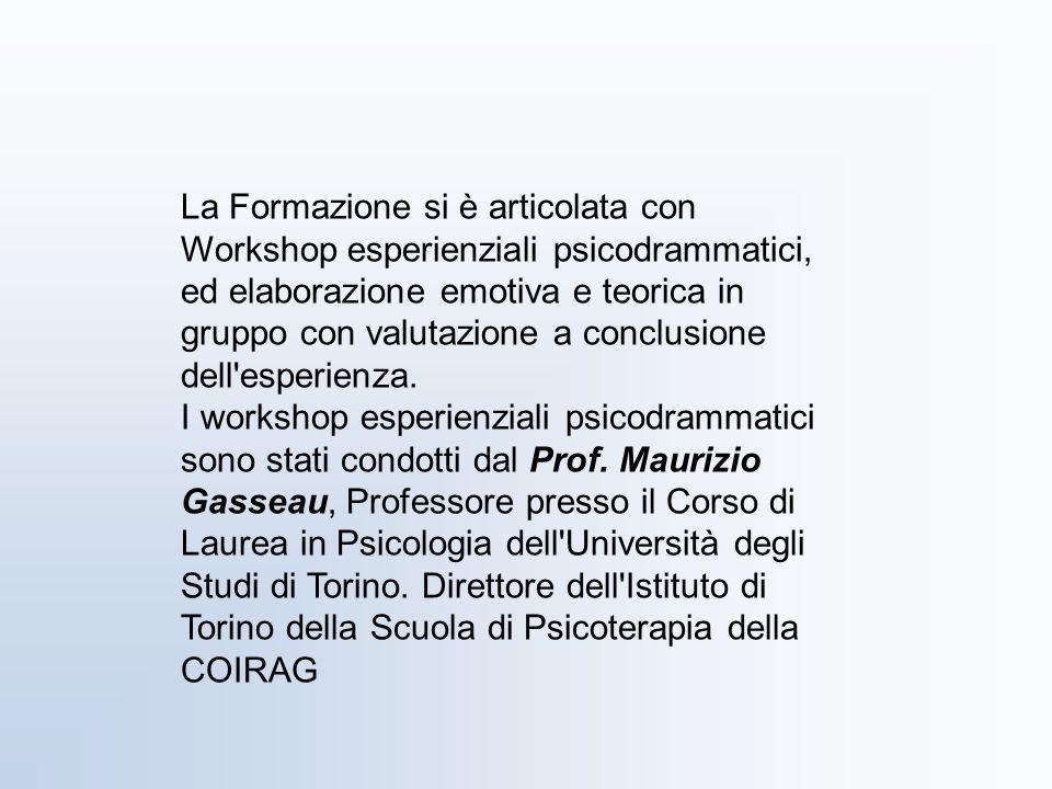 La Formazione si è articolata con Workshop esperienziali psicodrammatici, ed elaborazione emotiva e teorica in gruppo con valutazione a conclusione dell esperienza.