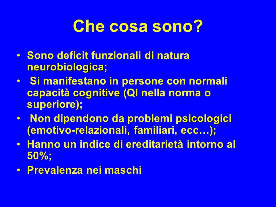 Che cosa sono Sono deficit funzionali di natura neurobiologica;