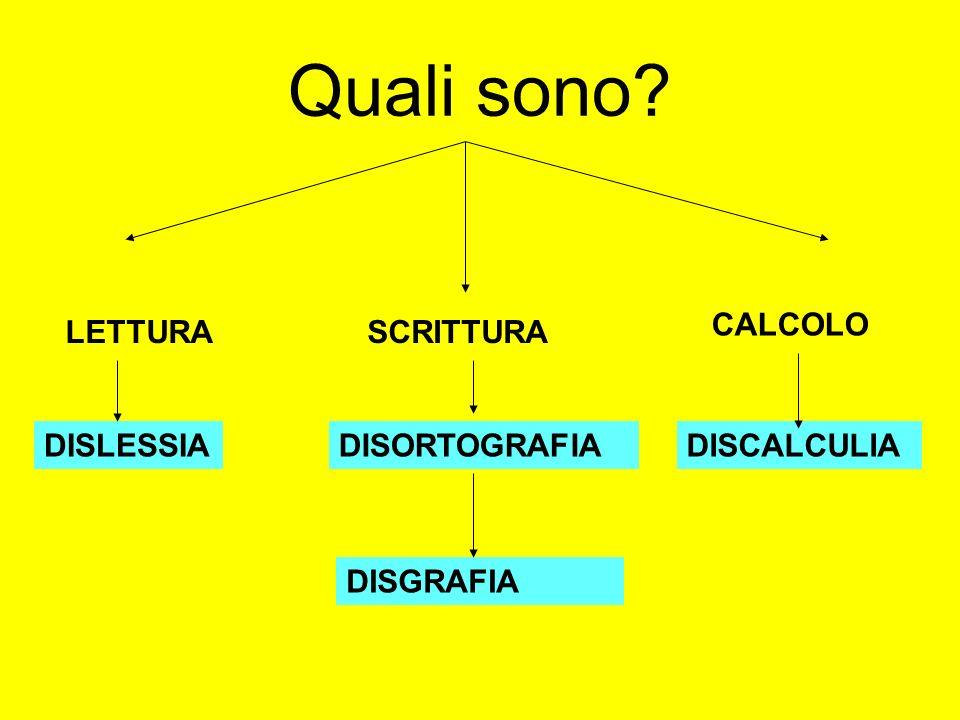 Quali sono CALCOLO LETTURA SCRITTURA DISLESSIA DISORTOGRAFIA