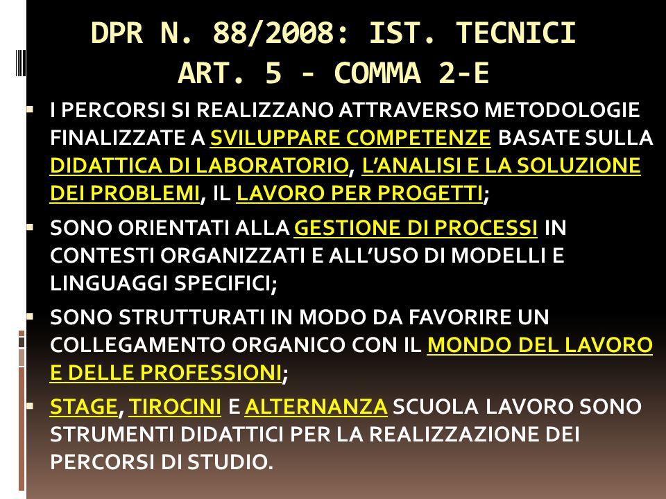 DPR N. 88/2008: IST. TECNICI ART. 5 - COMMA 2-E