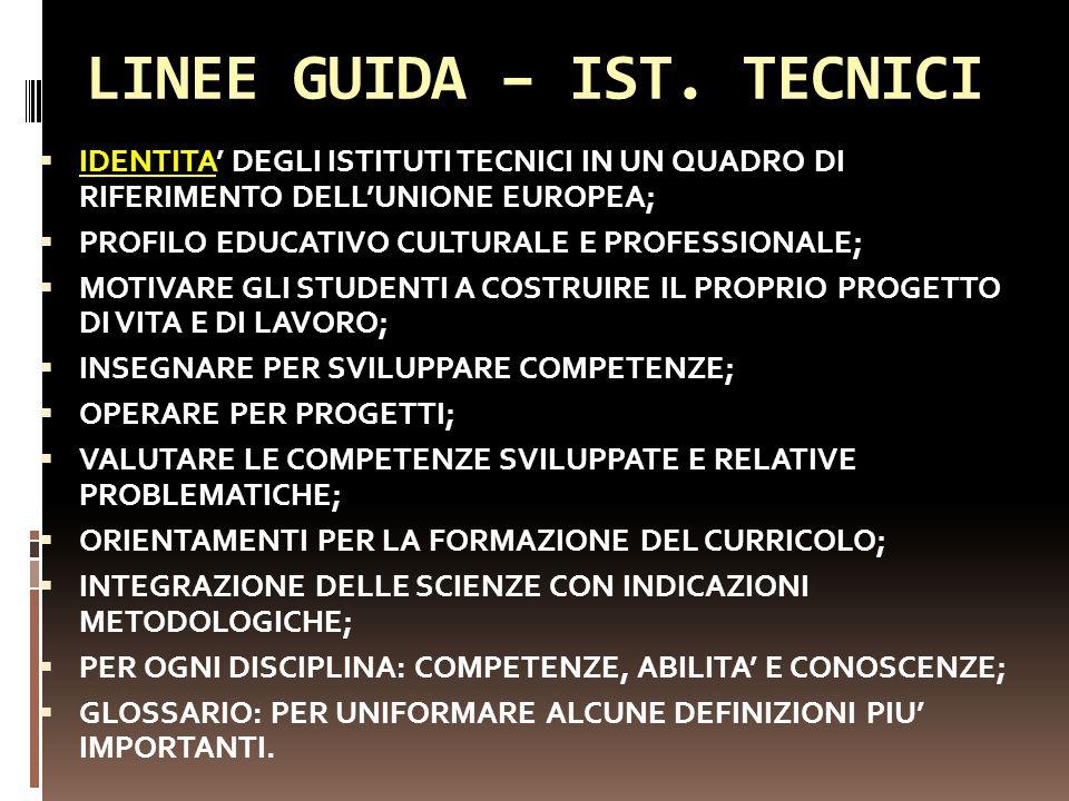 LINEE GUIDA – IST. TECNICI