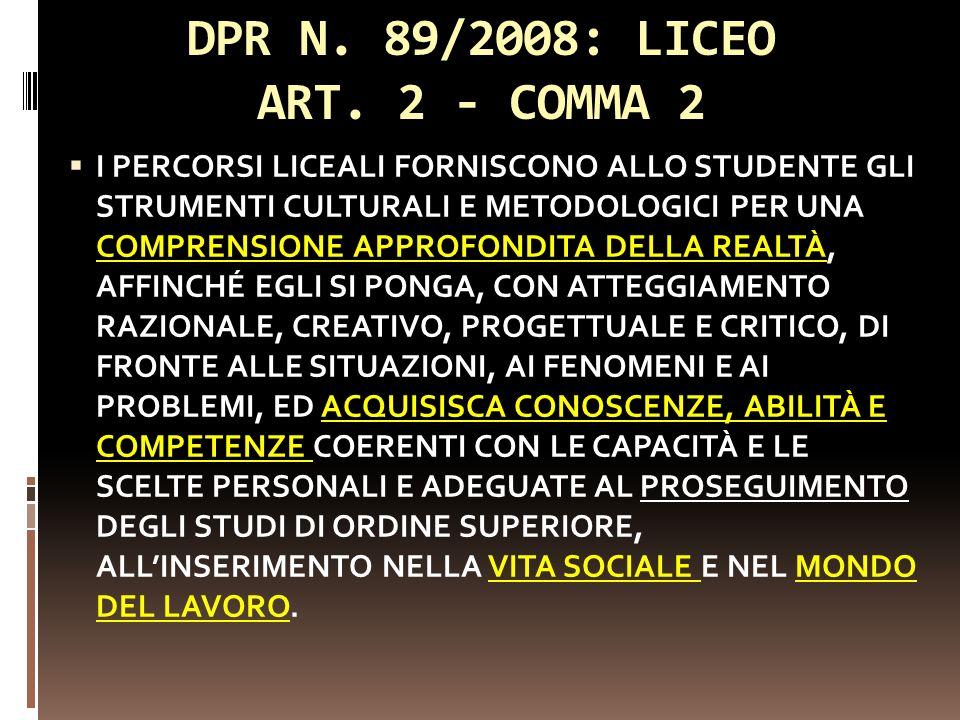 DPR N. 89/2008: LICEO ART. 2 - COMMA 2