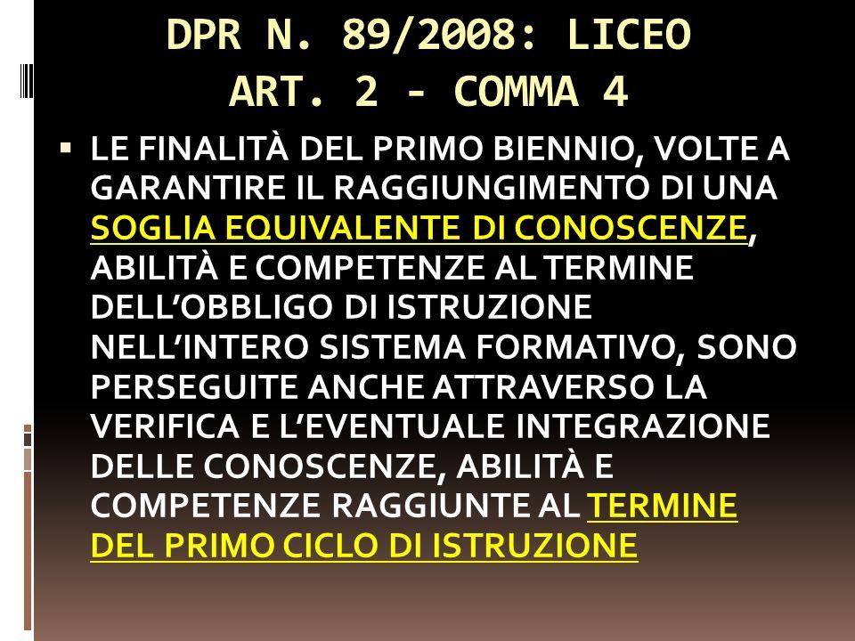 DPR N. 89/2008: LICEO ART. 2 - COMMA 4