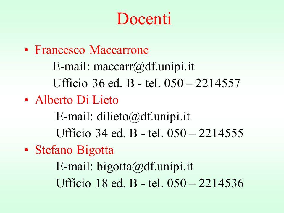 Docenti Francesco Maccarrone E-mail: maccarr@df.unipi.it