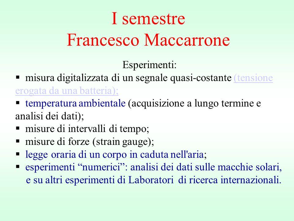 I semestre Francesco Maccarrone