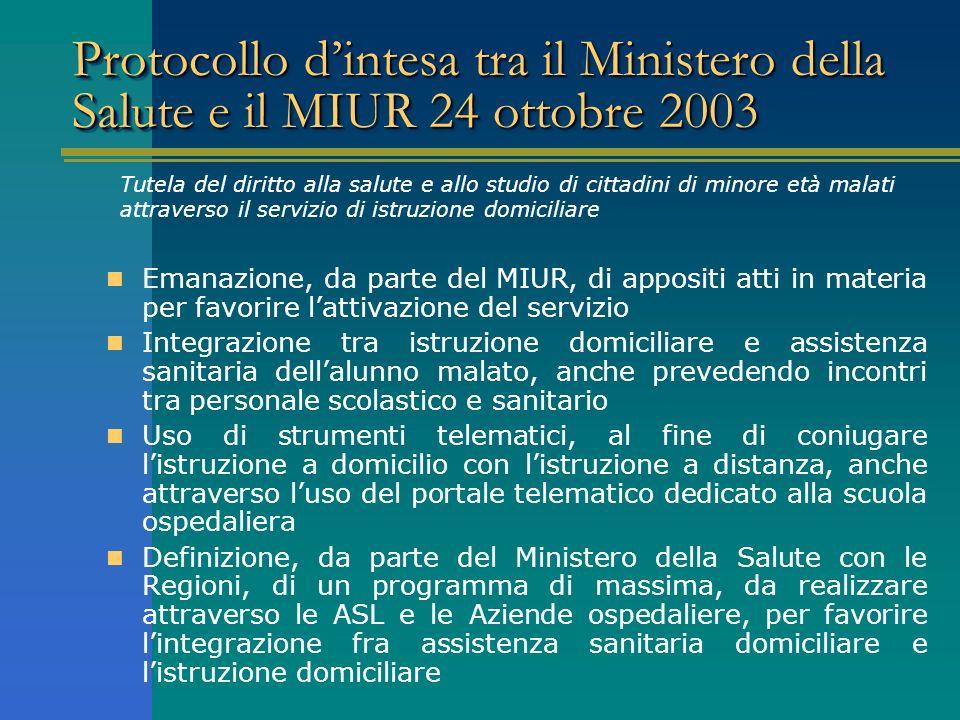 Protocollo d'intesa tra il Ministero della Salute e il MIUR 24 ottobre 2003