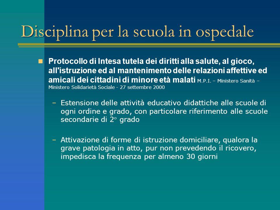 Disciplina per la scuola in ospedale