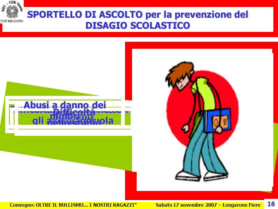 SPORTELLO DI ASCOLTO per la prevenzione del DISAGIO SCOLASTICO