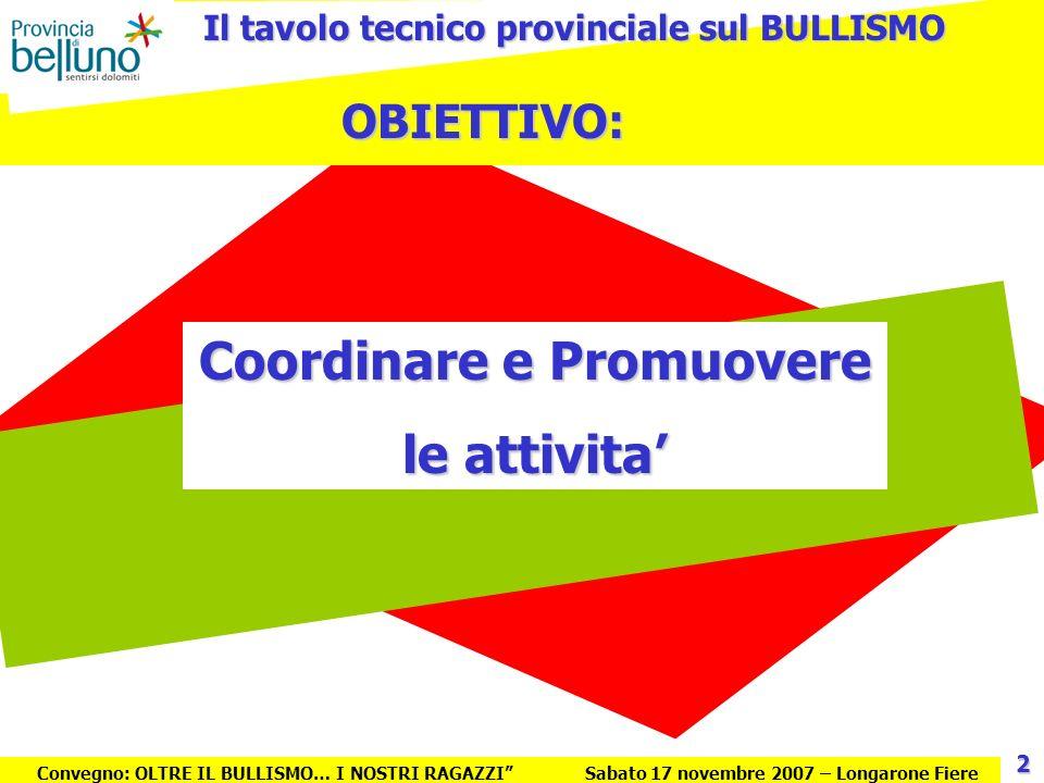 Il tavolo tecnico provinciale sul BULLISMO Coordinare e Promuovere