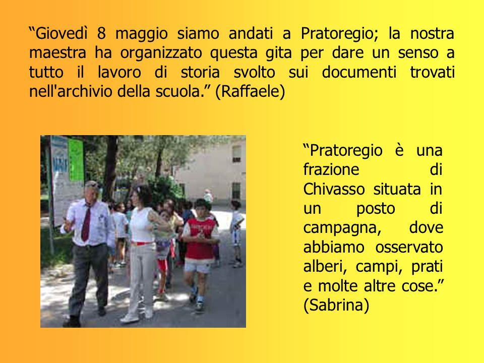Giovedì 8 maggio siamo andati a Pratoregio; la nostra maestra ha organizzato questa gita per dare un senso a tutto il lavoro di storia svolto sui documenti trovati nell archivio della scuola. (Raffaele)