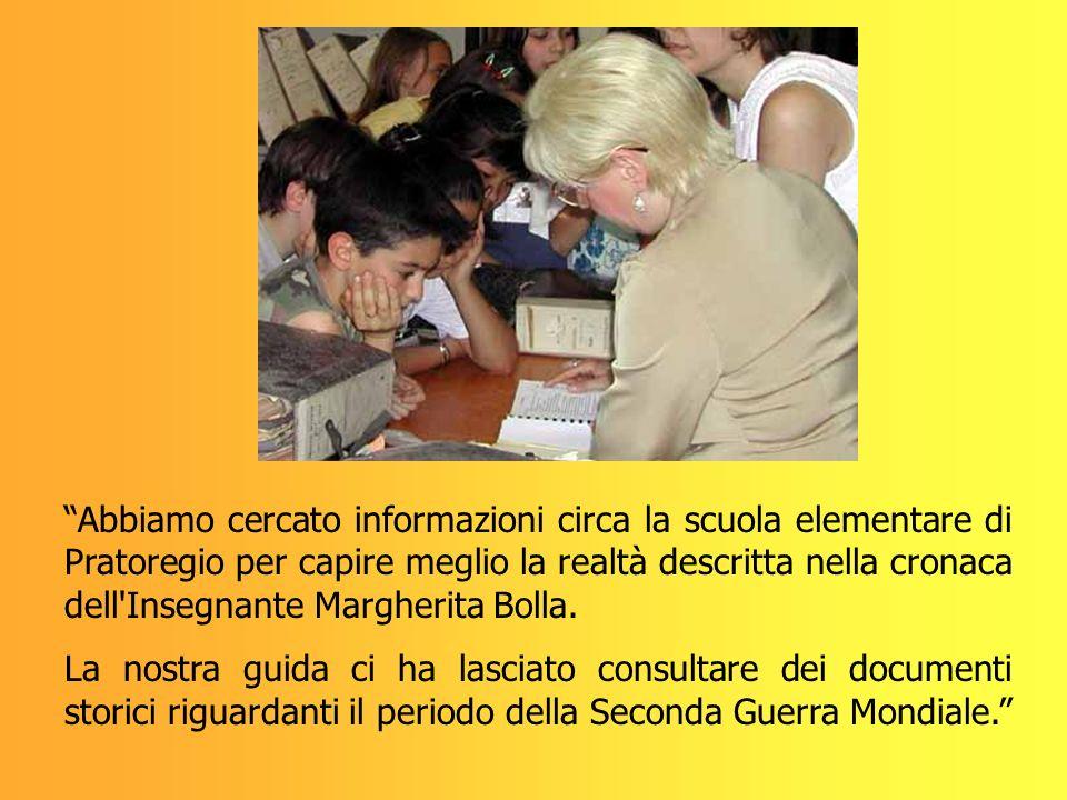 Abbiamo cercato informazioni circa la scuola elementare di Pratoregio per capire meglio la realtà descritta nella cronaca dell Insegnante Margherita Bolla.