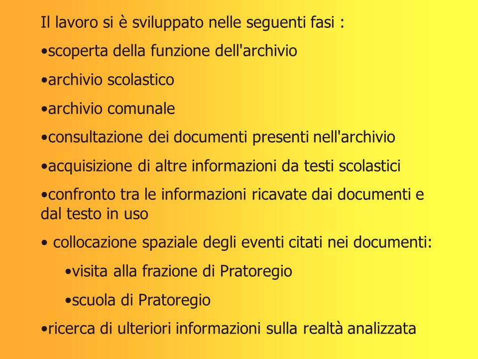 Il lavoro si è sviluppato nelle seguenti fasi :