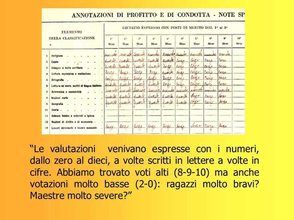 Le valutazioni venivano espresse con i numeri, dallo zero al dieci, a volte scritti in lettere a volte in cifre.