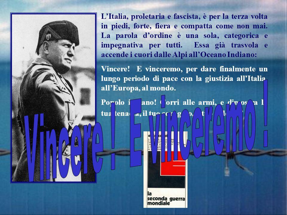 L'Italia, proletaria e fascista, è per la terza volta in piedi, forte, fiera e compatta come non mai. La parola d'ordine è una sola, categorica e impegnativa per tutti. Essa già trasvola e accende i cuori dalle Alpi all'Oceano Indiano:
