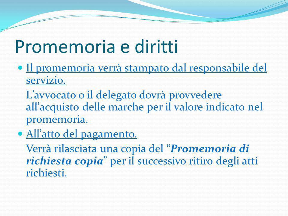 Promemoria e diritti Il promemoria verrà stampato dal responsabile del servizio.
