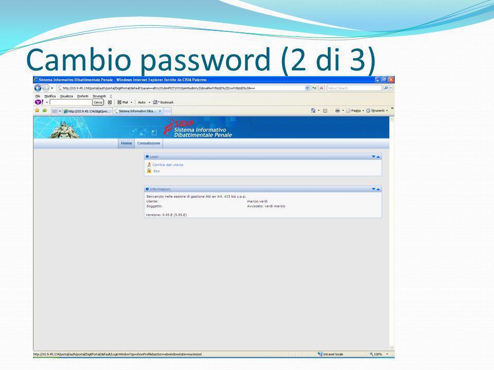 Cambio password (2 di 3)