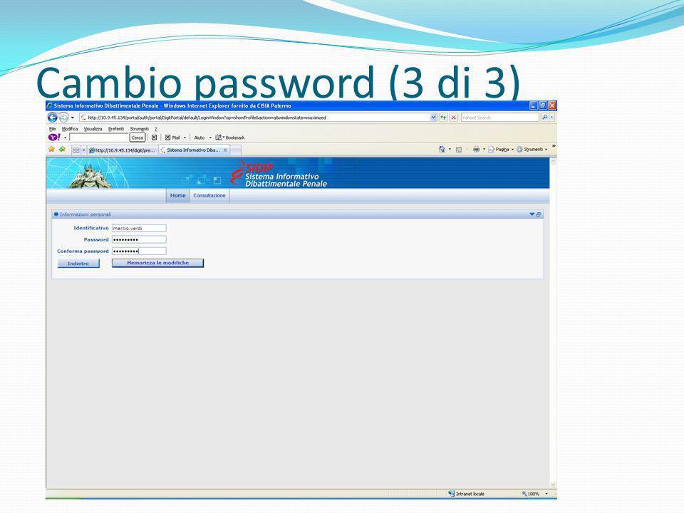 Cambio password (3 di 3)