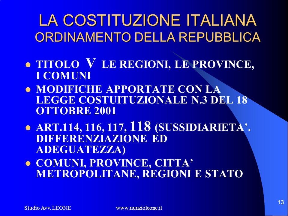LA COSTITUZIONE ITALIANA ORDINAMENTO DELLA REPUBBLICA
