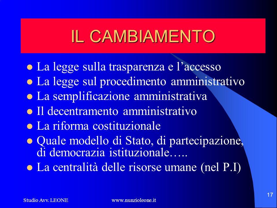 IL CAMBIAMENTO La legge sulla trasparenza e l'accesso