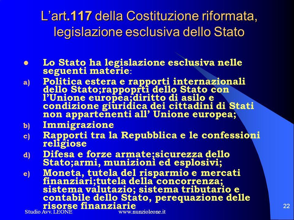 L'art.117 della Costituzione riformata, legislazione esclusiva dello Stato