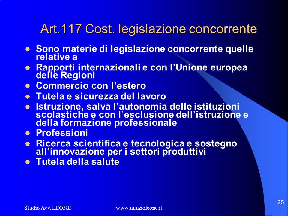 Art.117 Cost. legislazione concorrente
