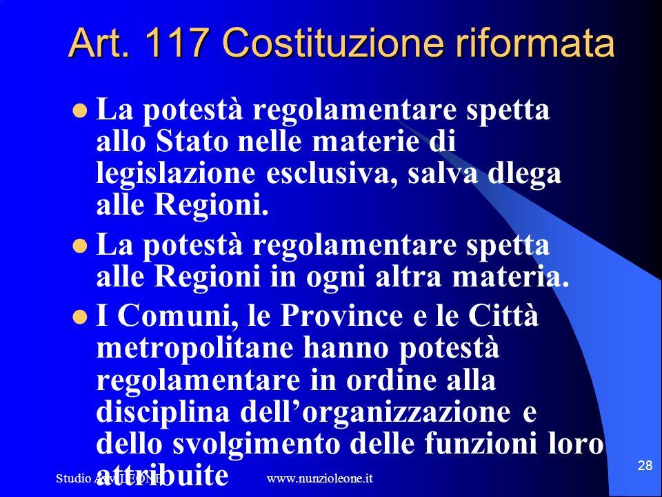 Art. 117 Costituzione riformata