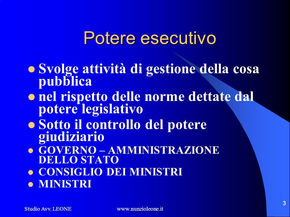 Potere esecutivo Svolge attività di gestione della cosa pubblica