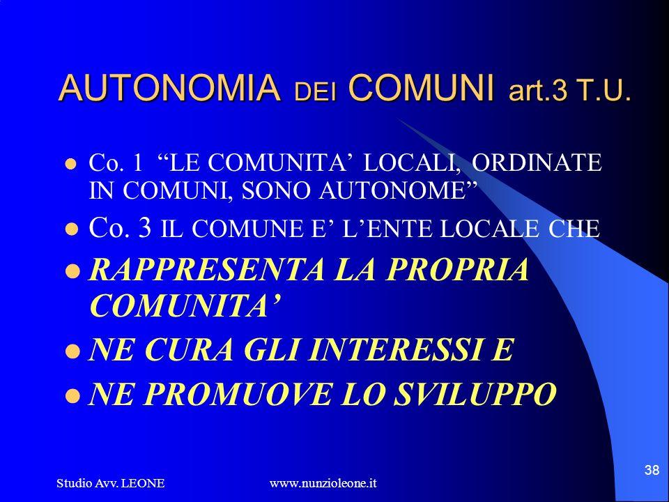 AUTONOMIA DEI COMUNI art.3 T.U.