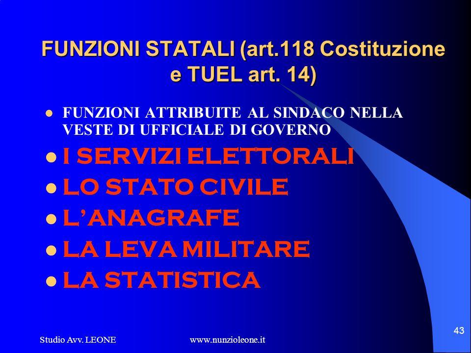 FUNZIONI STATALI (art.118 Costituzione e TUEL art. 14)