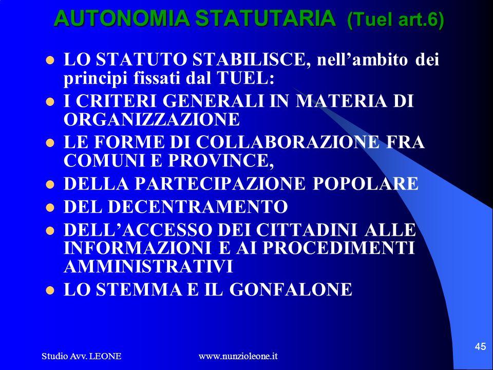 AUTONOMIA STATUTARIA (Tuel art.6)